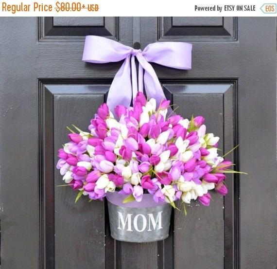 SUMMER WREATH SALE Mom Monogram Spring Tulip Wreath- Tulip Door Bucket Wreath Alternative- Tulip Spring Wreath- Gift for Mom- Mother's Day G