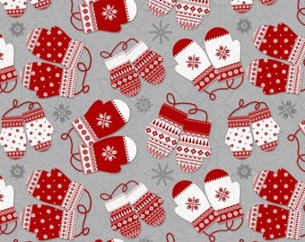 CHRISTMAS FLANNEL FABRIC , Gray/Red Mittens from Frosty Folks by Jan Shade Beach Collection