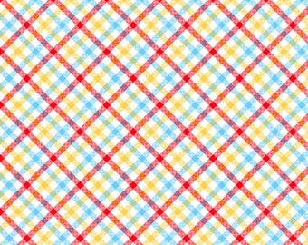 Children's Flannel, Zoo Mates Cotton Flannel Multi Plaid Children's Fabric by Henry Glass