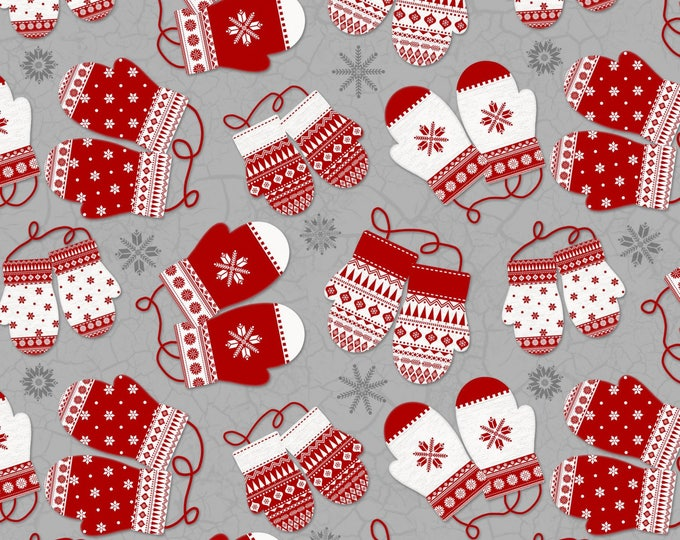 Christmas Holiday Flannel Fabric, Gray/Red Mittens from Frosty Folks by Jan Shade Beach Collection