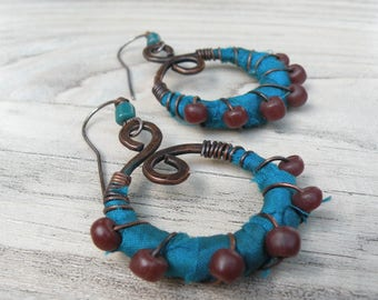 Silk Wrapped Spiral Earrings, Medium, Teal and Maroon, Bohemian Hoops, Dark Copper Dangles, with Sterling Ear Wires