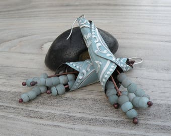 Tin Earrings, Recycled Metal, Tin Cone Earrings, Light Blue and White Earrings, Handmade
