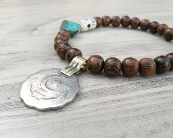 Gypsy Mala Bracelet, Dark Wood, Tribal Coin, Charm Bracelet, with Turquoise, Bone Skull, Handmade