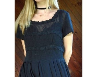 15% Memorial Day Wknd ... 50s Black Short Sleeve Crochet Lace Trim Calf Length Tea Dress - SMALL MEDIUM S M 4 6