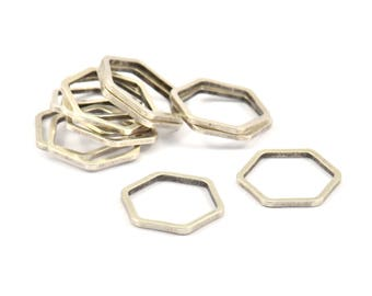 Silver Hexagon Ring Charm, 25 Antique Silver Plated Brass Hexagon Shaped Ring Charms (12x0.80mm) Bs 1171