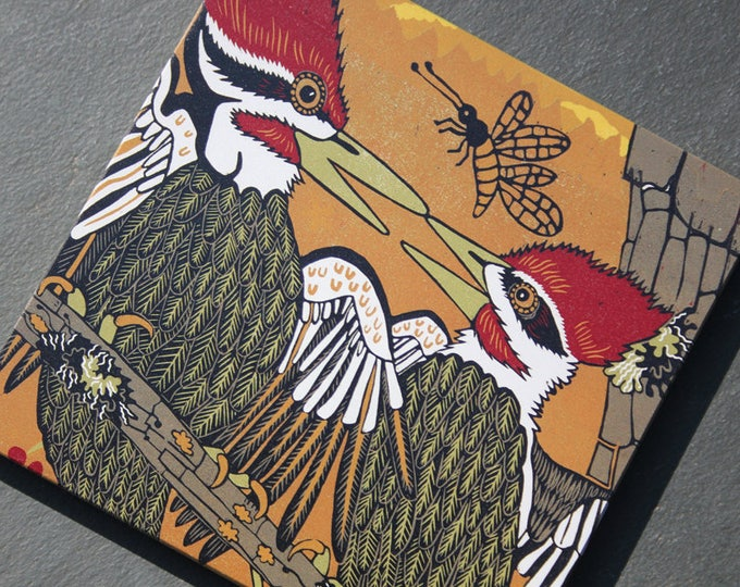 """Woodpecker, pileated woodpecker, print on wood, 6"""" x 6"""" square ready to hang"""