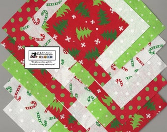 "25~5"" Christmas Trees_Candy Canes Fabric Squares/Quilt/Craft/Sewing/Charm Packs #5874"