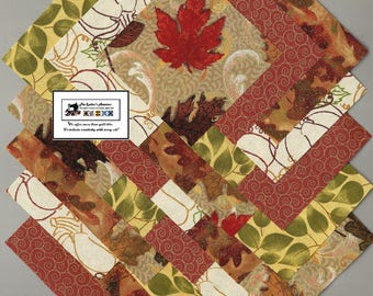 """25~5"""" Fall Autumn Pumpkin Fabric Squares/Quilt/Craft/Sewing/Charm Packs #5869"""