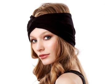 Turban Headband Black Headwrap Hair Accessory Black Headband Boho Spring Accessory 1920s Headband Soft Headband Head Wrap Spring Fashion