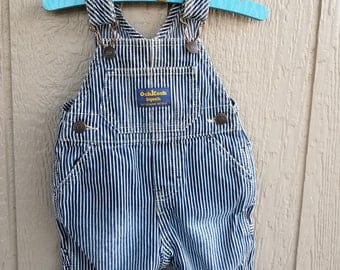 Childrens Retro Denim Blue Stripe OshKosh Overalls Size 3 mos.