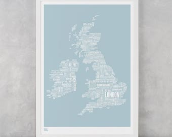 UK Map Print, UK Type Map Screen Print, British Isles Font Map, British Isles Word Map, British Isles Artwork, British Isles Art