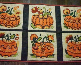 Quilted Pumpkin Wall Hanging or Table Runner