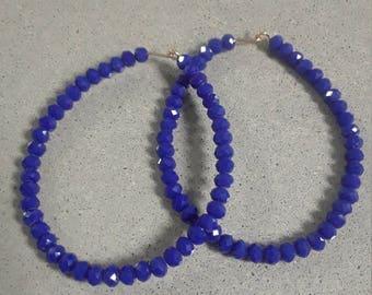 Royal Blue Crystal Hoops