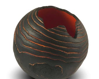 Pahoehoe - Handmade Wooden Vessel - Textured Elm Wood - Black and Orange