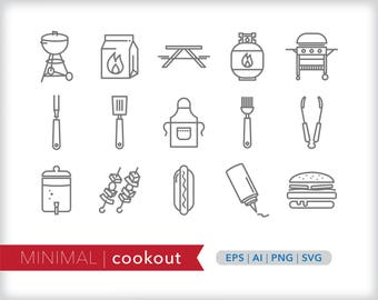 Minimal cookout line icons | EPS AI PNG | Geometric Summer Clipart Design Elements Digital Download