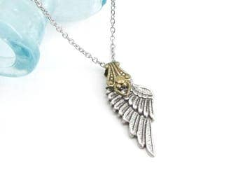 Angelic Whispers II - Guardian Angel Necklace, Dainty Necklace, Wing Charm Necklace, Silver Wing Jewelry, Memorial Necklace, Skyward