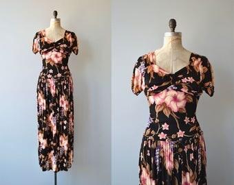 Malvaceae dress | vintage 1940s dress | floral jersey 40s dress