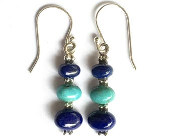 Lapis Lazuli and Sleeping Beauty Turquoise Sterling Silver, Dangle Earrings