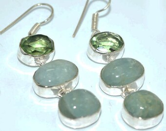 Faceted Natural Oval Prasiolite (Green Quartz) and Oval Green Aventurine Drop Earrings set in Sterling Silver