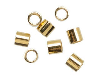 Gold Elegance 14K Plated - Crimp Beads Tubes 2x2mm (50 pieces)