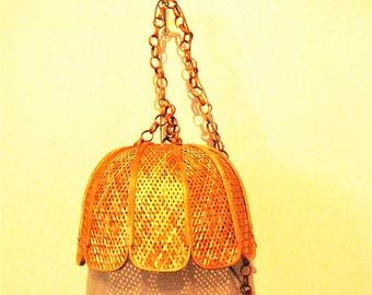 Swag Lamp Vintage Wicker Basket