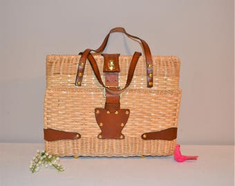 Vintage Leather and Wicker Large Handbag by Simon