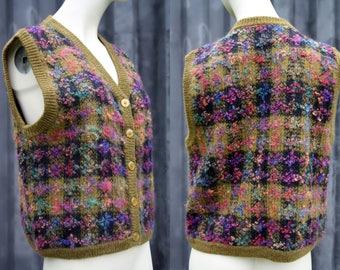 Funky 80's Multi Colored Plain Wool Woman's Retro Button Down Sweater Vest