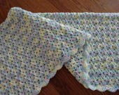"""Crochet Baby Blanket Lacy Shell Stitch Crochet Crib Size Afghan 30"""" x 40"""" - Baby Boy or Baby Girl Blanket-Baby Rainbow Colors-Ready to Ship"""