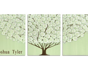 Customized Name Art for Boy Nursery - Green Tree Painting on Canvas Triptych - Large 50x20