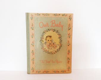 vintage 1940's baby book // floral blue pink // 40's memory album the first 5 years New