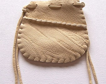 Beautiful Deerskin Leather Medicine Bag .. Seamed...CREAM
