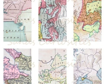 ON SALE Digital Download Vintage Maps Domino size 1x2