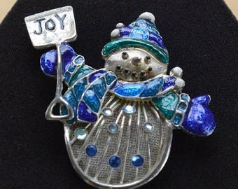 "ON SALE Blue, Green Snowman Brooch, Rhinestone, Vintage, Silver tone, ""JOY"" (R3)"