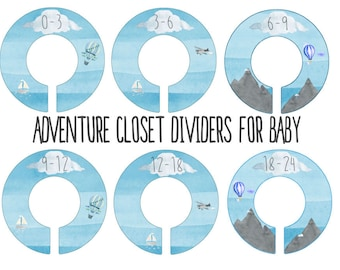 Adventure Nursery Closet Dividers, Hot air balloon Blue Gray Nursery, Baby Clothes Dividers,  Clothes Organizer, Airplane nursery , toddler