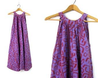 Purple Boho Sun Dress Vintage Ethnic Tent Dress Long Cotton FESTIVAL Bohemian Tribal Frock Sleeveless Dress Womens Size Small