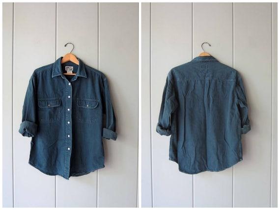 vintage button up jean shirt dark blue denim pocket shirt button down shirt boyfriend shirt Plain Basic work shirt grunge shirt medium