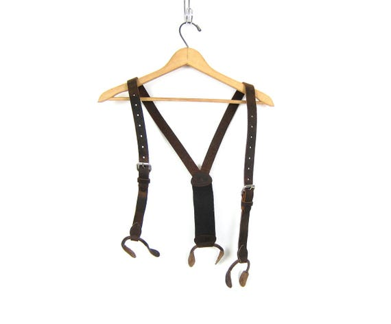 Vintage Dark Brown Leather Suspenders Steampunk Hipster Men's Belt with Button Holder clip Tabs clasps
