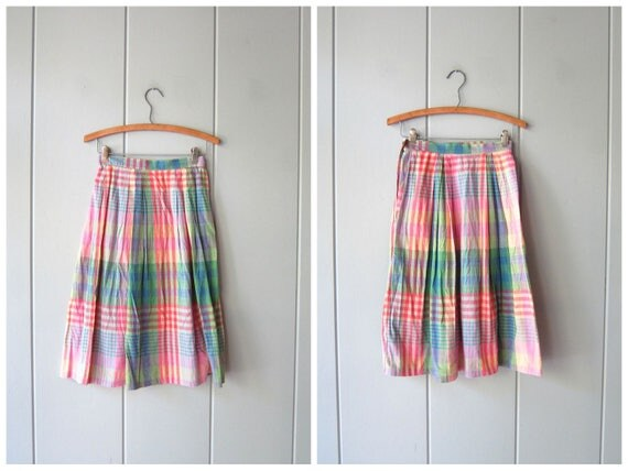 Plaid Cotton Skirt with Pockets Vintage 80s Midi Skirt Pink Blue Green High Waist Skirt Thin Cotton Pastel Summer Skirt Preppy Womens XS