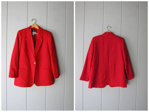 Vintage 90s Red Wool Blazer Oversized Wool Jacket Button Up Preppy Fall Coat Modern Minimal Preppy Dress Jacket Womens Size 12 Large