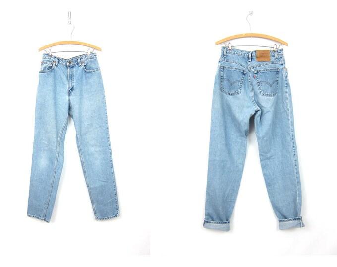 551 LEVIS Jeans Worn In Blue Jeans Faded Denim Boyfriend Jeans Vintage Distressed Pants Hipster Grunge Women's Size 10 Long