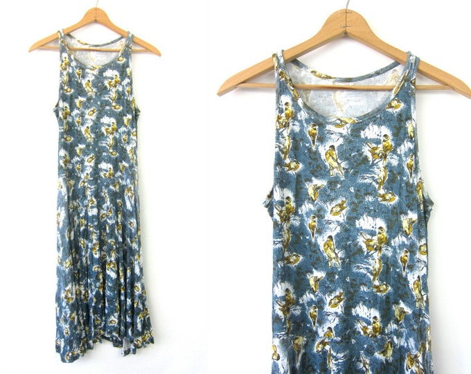 Long Blue Tank Dress Vintage 90s Bird Print  Graphic Resort Dress Vacation Wear Long Bird Pattern Lounge dress Women's Size Medium Large