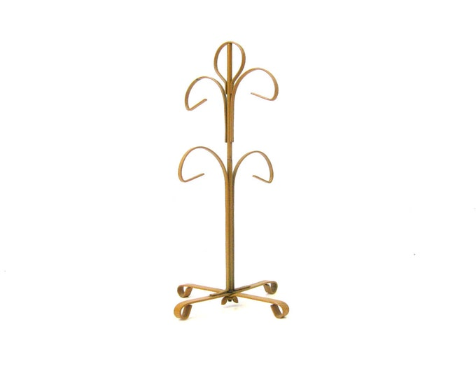 Vintage 1970s mustard yellow gold metal 4 mug tree hanger / perfect for jewelry, necklaces, etc