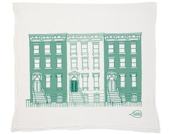 Blue Brownstone Tea Towel
