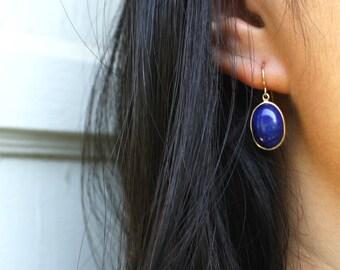 ART DECO LAPIS antique vintage lapis lazuli 14k gold cabochon drop earrings circa 1930s