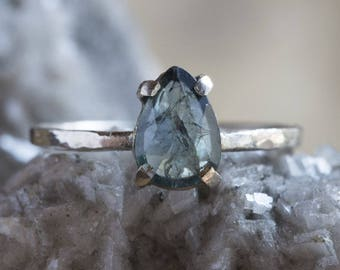 One of a Kind Natural Rose Cut Blue Sapphire Ring