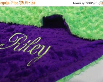 SALE Purple and Green Rose Swirl Minky Baby Blanket Can Be Personalized