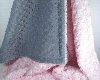 SALE Light Pink and Gray Minky Dot Baby Blanket, Charcoal Gray and Pink Minky Dot baby Blanket, Pink Rose Swirl Baby Blanket, Can Be Persona