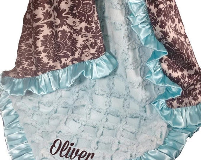 SALE Personalized Saltwater Pool Green and Black and Gray Damask Minky Baby Blanket, available in three sizes