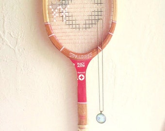 Vintage Red Spaulding Tracy Austin Wooden Tennis Racket Sports Wall Hanging Jewelry Rack Bulletin Board