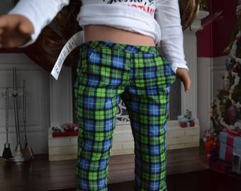 18 inch Doll Clothes - Plaid Chinos - Trouser Pants - Green Blue Black - for BOY or GIRL - fit American Girl